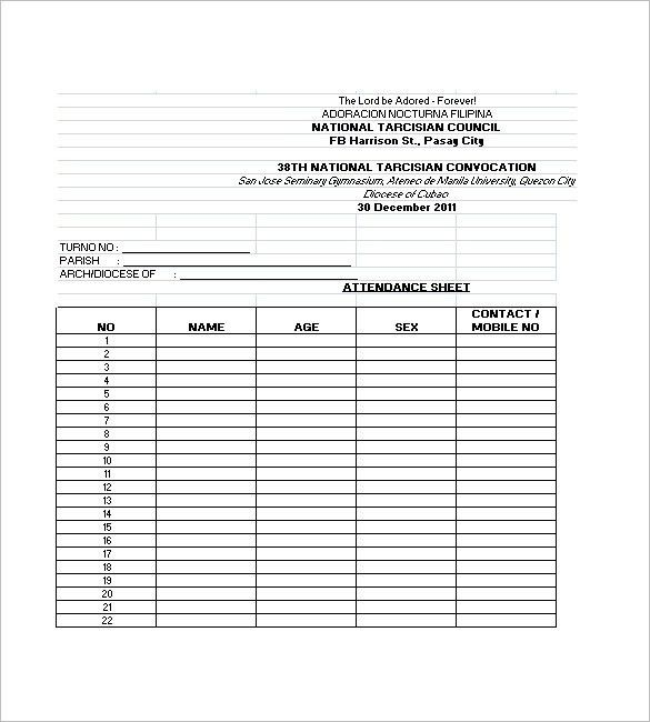 Attendance List Template – 10+ Free Word, Excel, PDF Format ...