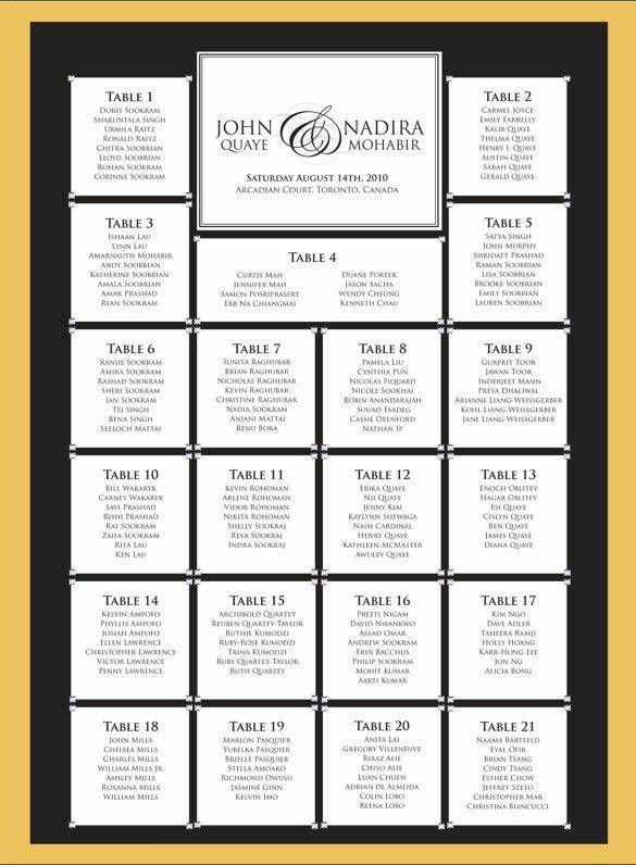Free Printable Wedding Seating Chart Template | Template Design