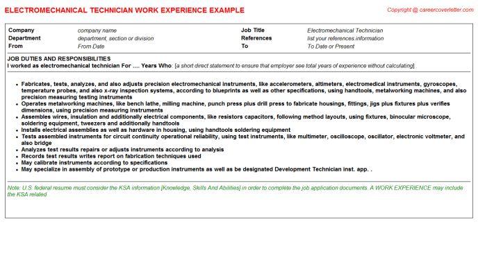 Electro Mechanical Technician CV Work Experience Samples