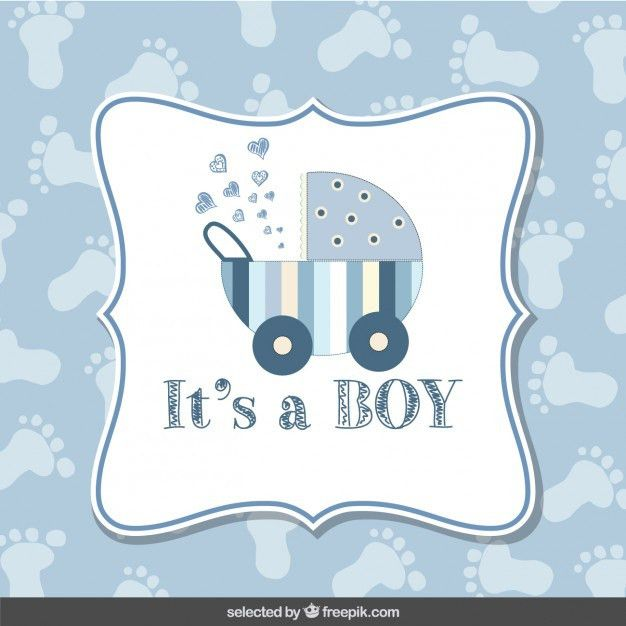 Baby shower card boy with footprint background Vector | Free Download