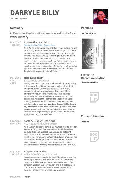 Information Specialist Resume samples - VisualCV resume samples ...