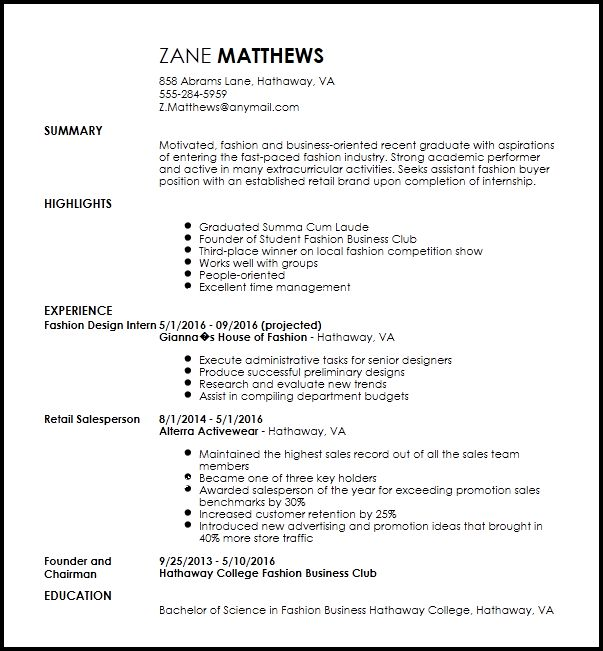 Free Entry Level Fashion Assistant Buyer Resume Template | ResumeNow