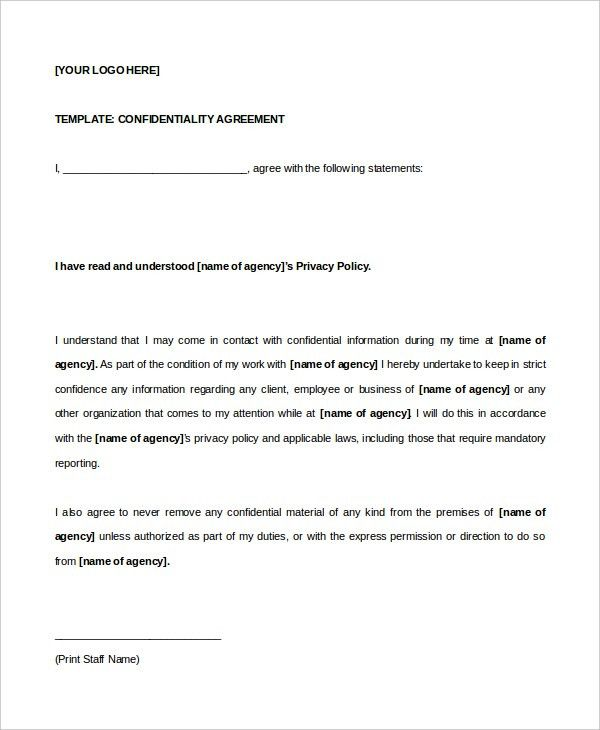 11+ Celebrity Confidentiality Agreement Templates – Free Sample ...