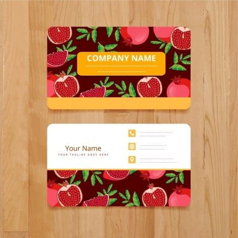 Name card template pomegranate icons decoration repeating design ...
