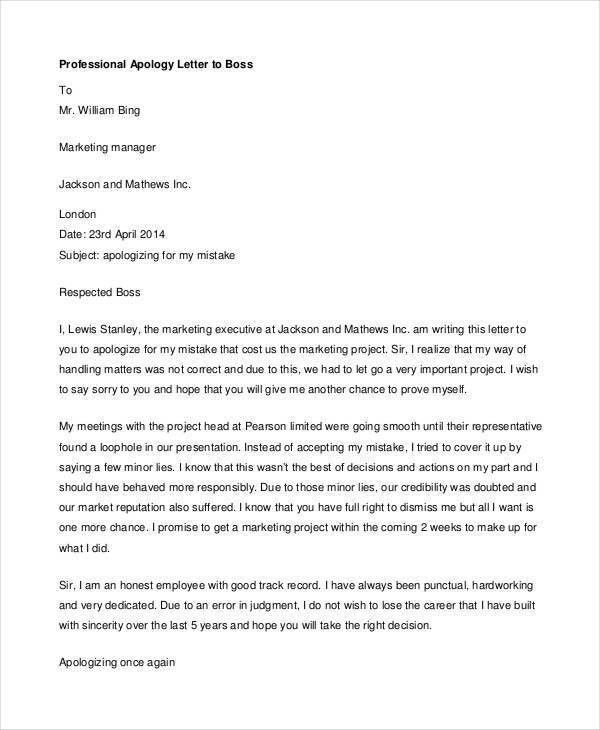 Amazing Apology Letter To Boss Ideas - Best Resume Examples for ...