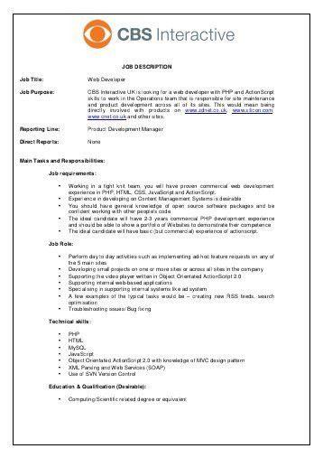 web developer designer job description
