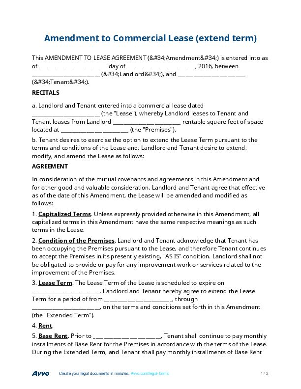 Commercial Lease Amendment