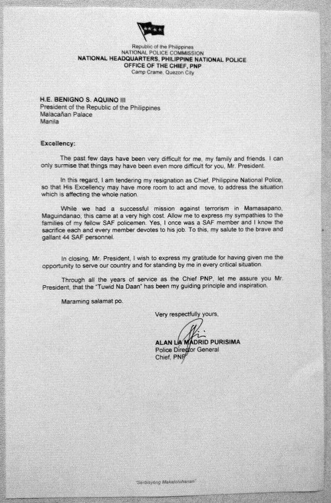 FULL TEXT PNP chief Alan Purisima's resignation letter | Inquirer News