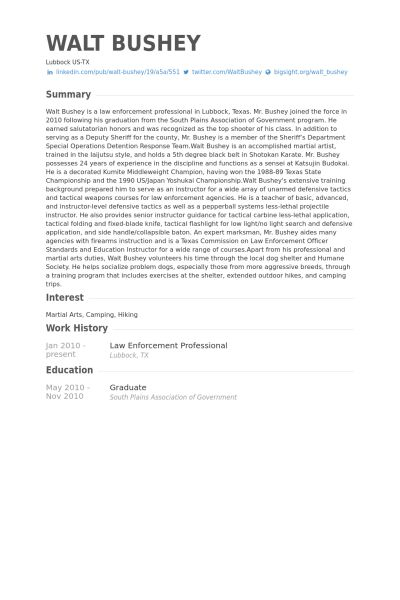 Law Enforcement Resume samples - VisualCV resume samples database