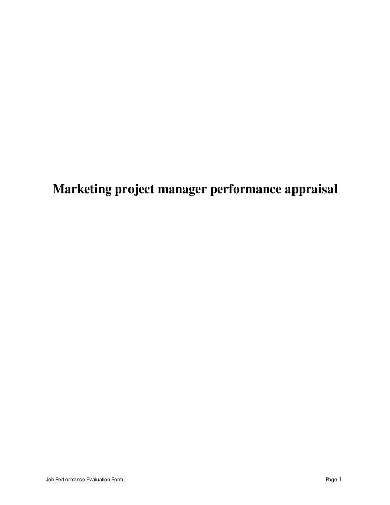 Marketing project manager perfomance appraisal 2