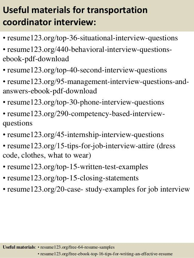Top 8 transportation coordinator resume samples