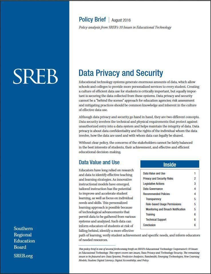 Data Privacy and Security - Southern Regional Education Board