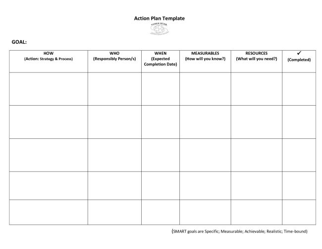 Very Simple Action Plan Template Word Example with Goal and 6 ...