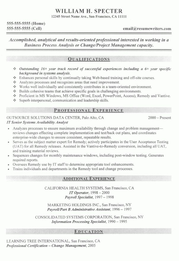 Systems Analyist Resume Sample: IT Resume Examples