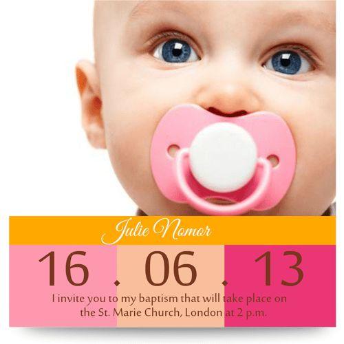 Baptism invitation 10x10 cm - template MZC013 [Template MZC013 ...