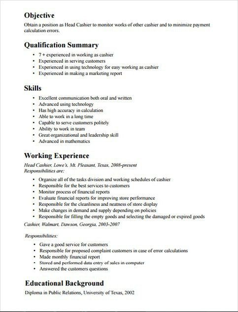 fast food cashier resumes
