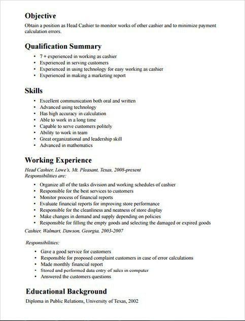 sample resume of cashier cv cashier 16 fast food cashier resume ...