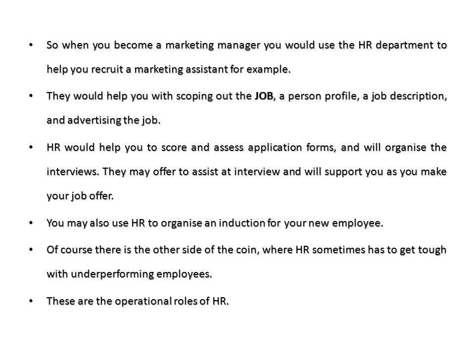 Marketing interface with Human Resource. Human resources Human ...
