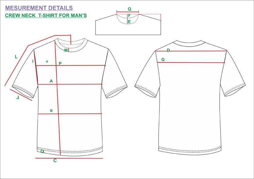 Tech Pack Template Crew Neck T-Shirt Mens USA Regular Size