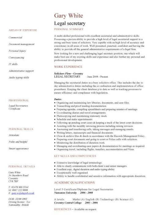 Legal Assistant Sample Resume Legal Resumes Legal Secretary