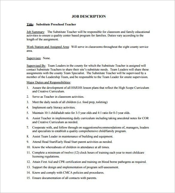 8+ Substitute Teacher Job Description Templates - Free Sample ...