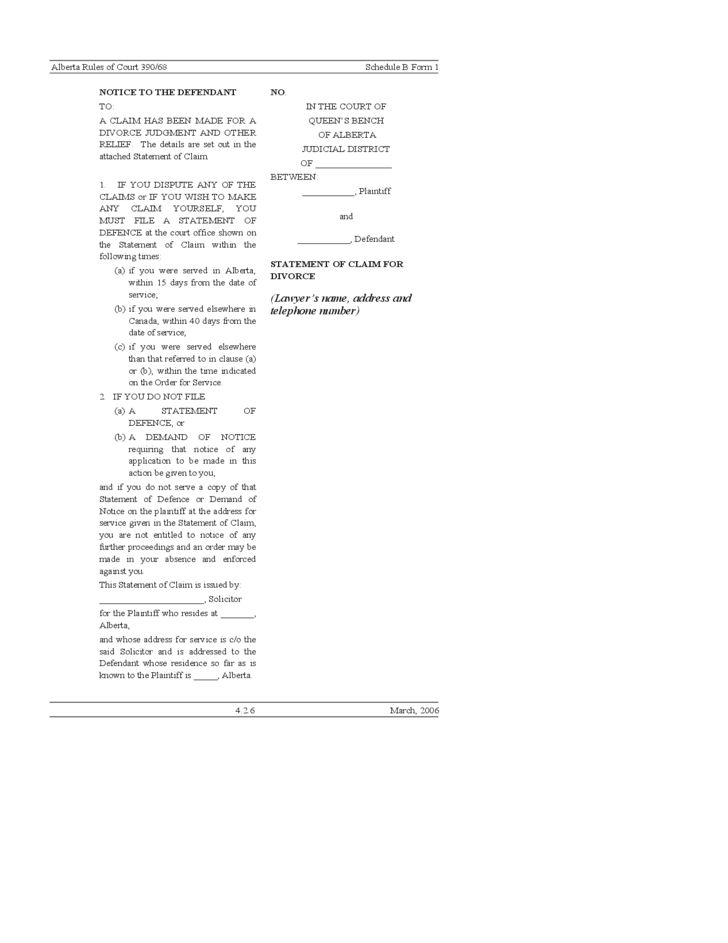 19 Divorce Forms (Statement, Petition, Agreement, etc)- Alberta ...
