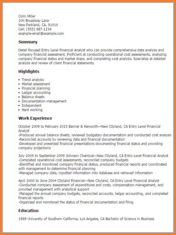 financial analyst sample resumes