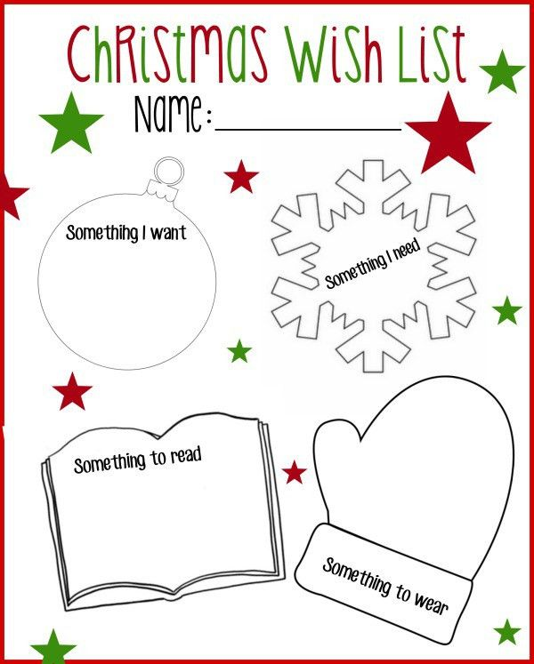 Printable Christmas Wish List: Want, Read, Wear, Need