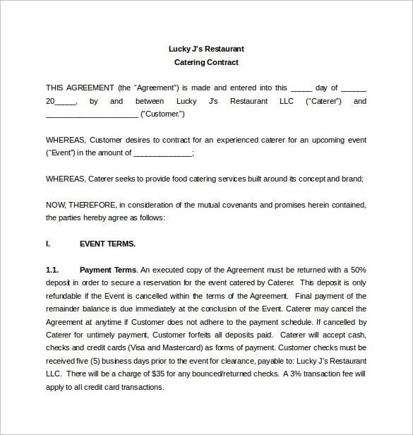 Sample Catering Contract Template Catering Contract Template 9 – Sample Reseller Agreement