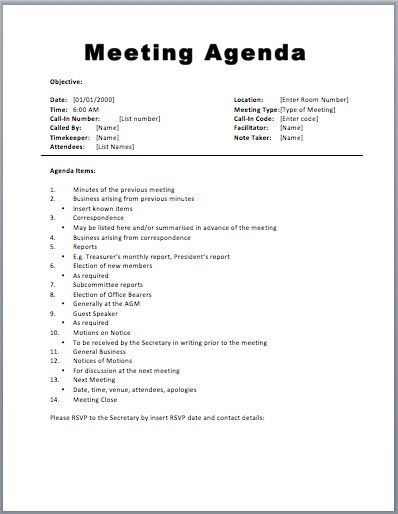 Meeting Agenda Template Word | peerpex