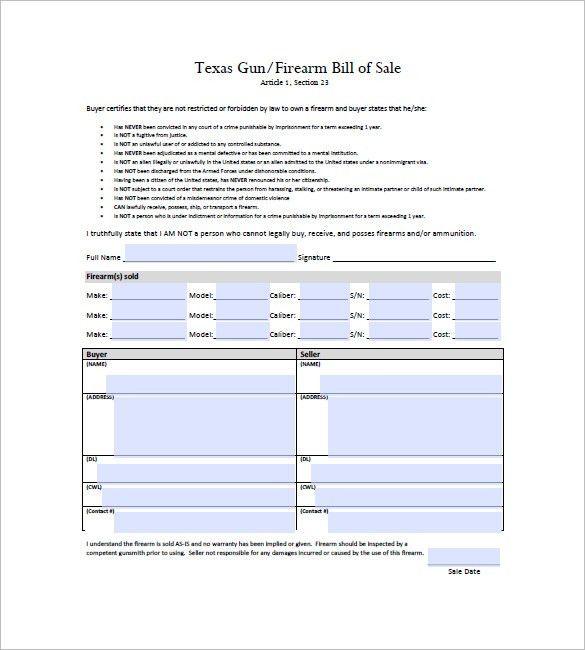 Gun Bill of Sale – 10+ Free Sample, Example, Format Download ...