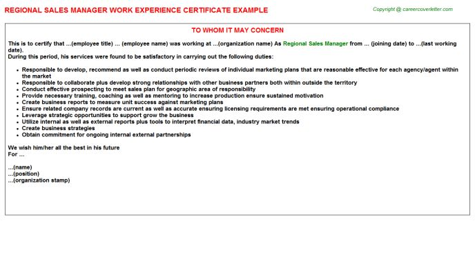Regional Sales Manager Work Experience Certificate