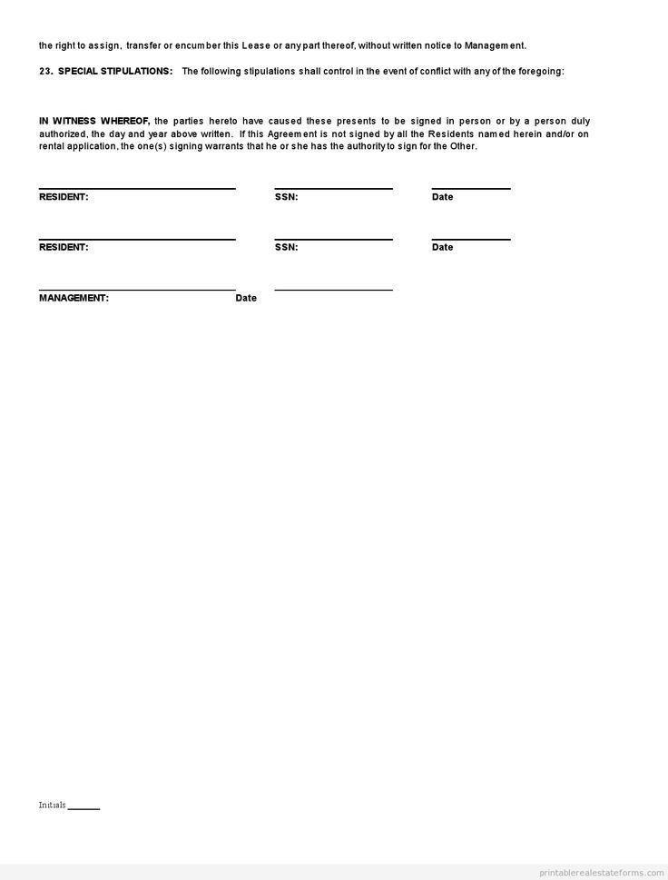 Lease Forms Free Print | Examples.billybullock.us