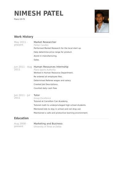 Market Researcher Resume samples - VisualCV resume samples database