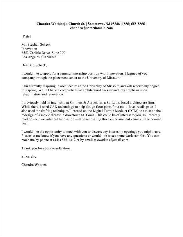2016 Sample Cover Letter for Internship | RecentResumes.com