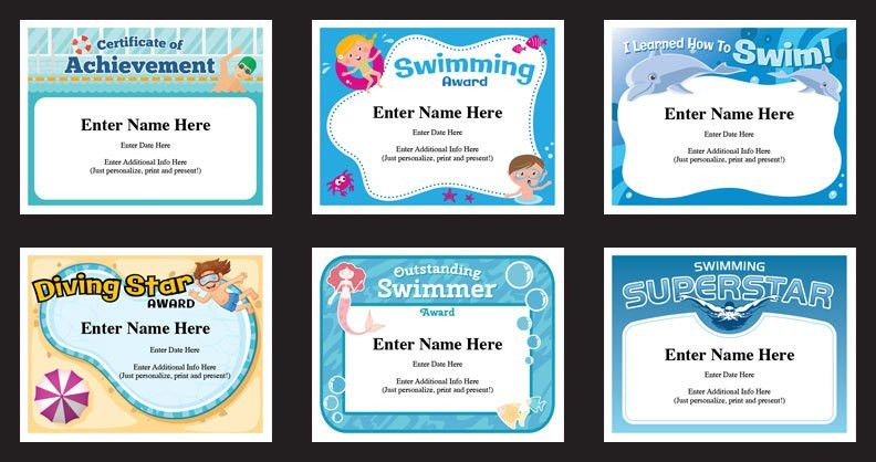 Swimming Certificates Templates | Swim Awards | Swimming Coach