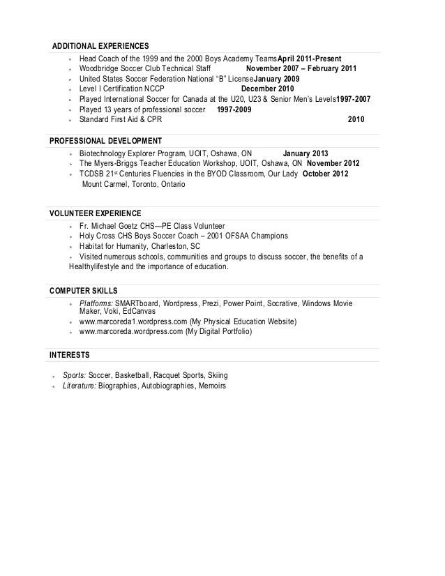 Resume For Soccer Coach #1294