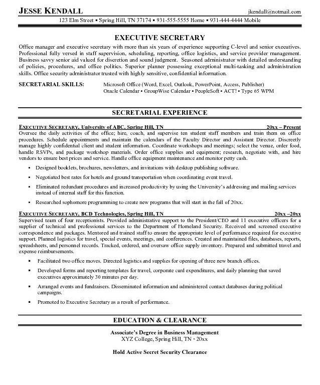 Creative Inspiration Secretary Resume Examples 12 Executive ...