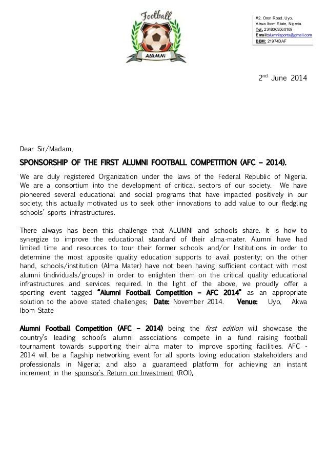 Alumni Football Competition (AFC - 2014) Registration Package & Spons…