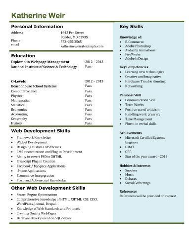 Web developer resume | Free Resume Templates Microsoft Word ...