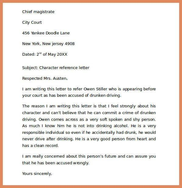 Character Reference For Court.Character Reference Letter For Court ...
