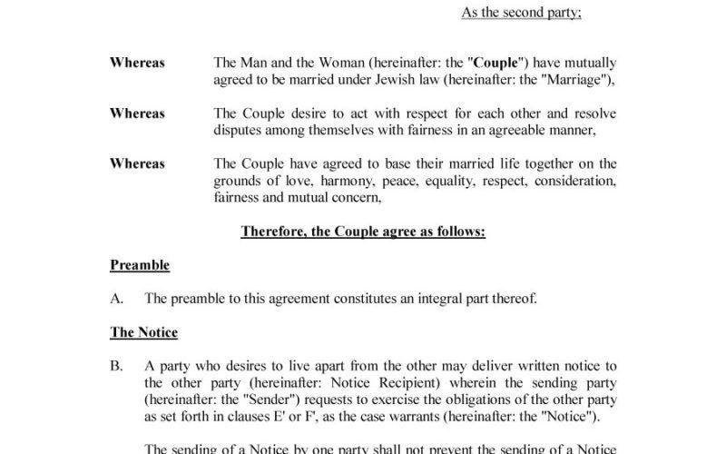 Prenuptial Agreement Form. Prenuptial Agreement Example Prenuptial ...