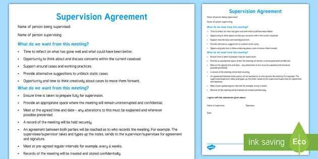 Supervision Agreement Template Young People & Families Case File