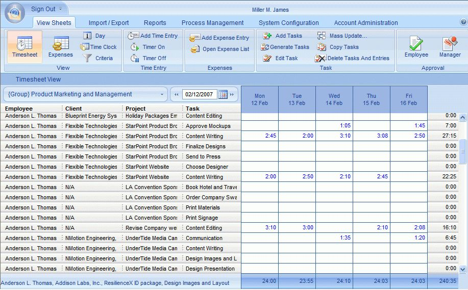 Web timesheet and employee time tracking software