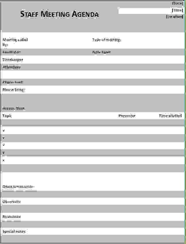 6 Staff Meeting Agenda TemplateAgenda Template Sample | Agenda ...
