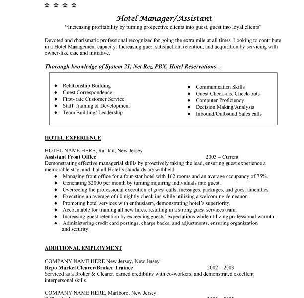 Professional Hotel Management Resume. resume examples for hotel ...
