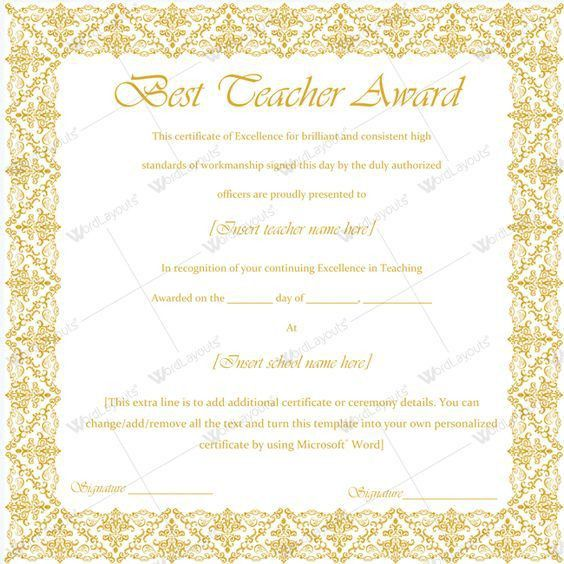 Simple Teacher Of The Year Certificate #award #awardforteacher ...