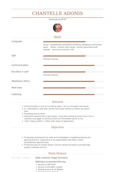 Legal Secretary Resume samples - VisualCV resume samples database