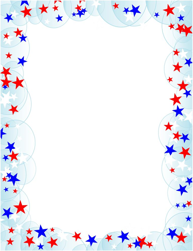 A page border with stars in different colors. Free downloads at ...