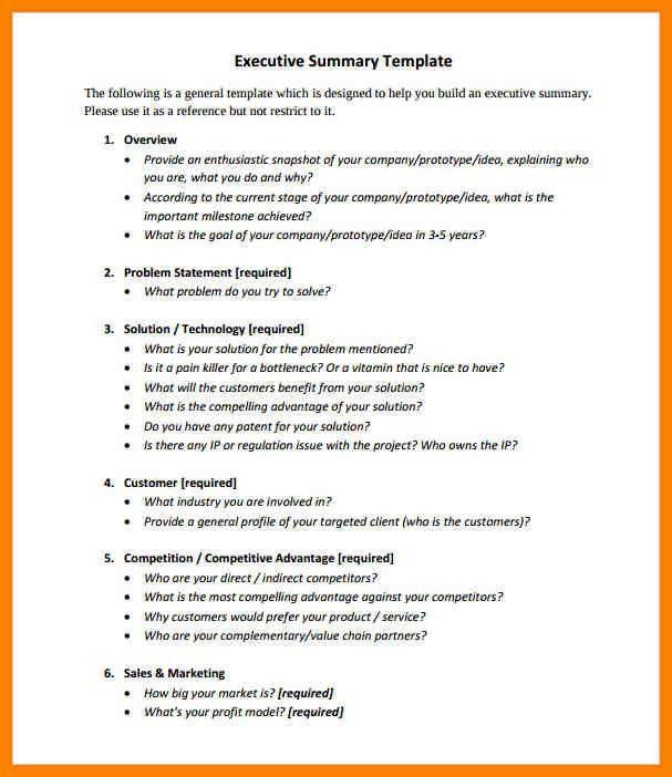 Executive Summary Template Doc. 5 executive summary templates ...